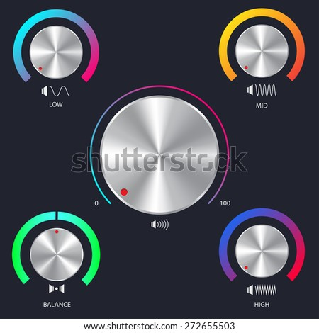 Volume button with metal texture - stock vector