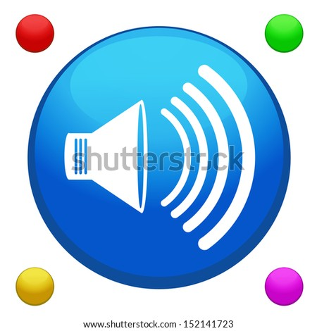 Volume icon button vector with 4 color background included  - stock vector
