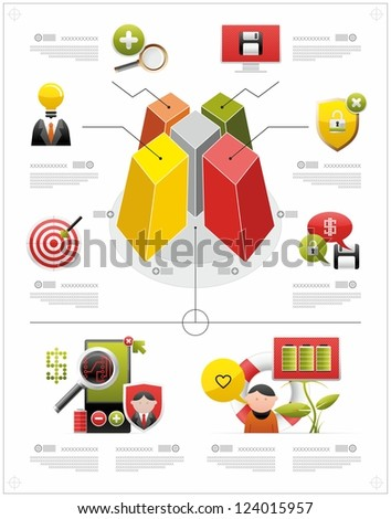 volume infographics and icons - stock vector