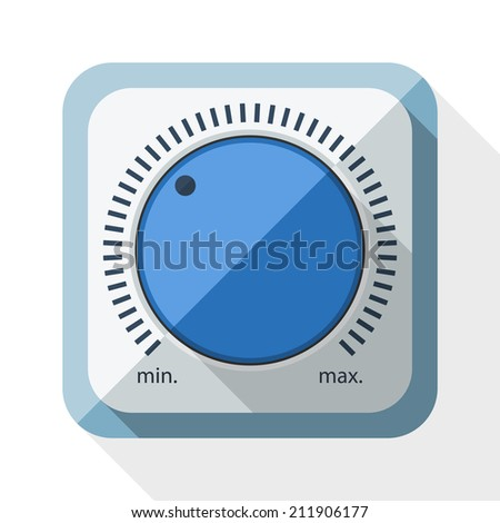 Volume knob icon with long shadow on white background - stock vector