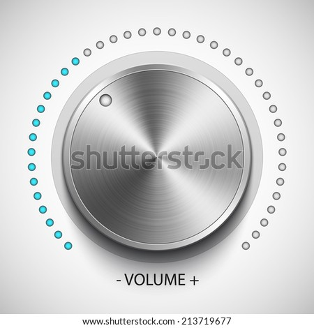Volume knob with metal texture, realistic vector - stock vector