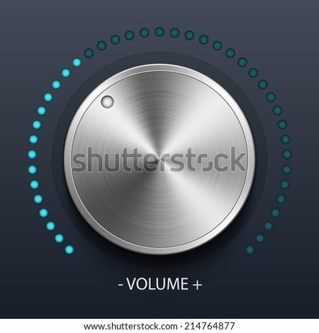 Volume knob with metal texture, stock vector - stock vector