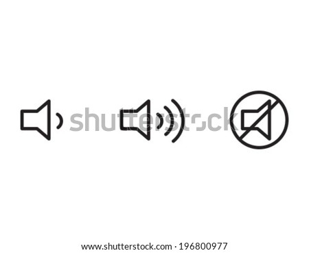 Volume Mute Outline Icon Symbol - stock vector
