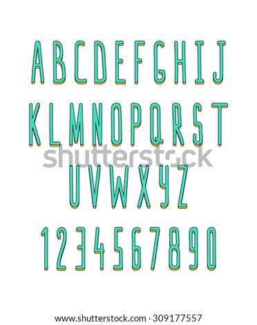 Volume set of letters and numbers, handmade. Outline font. Sketch font. Doodle font. Animation font design. Volume font. Letters handmade, hand drawn alphabet. Font color - stock vector