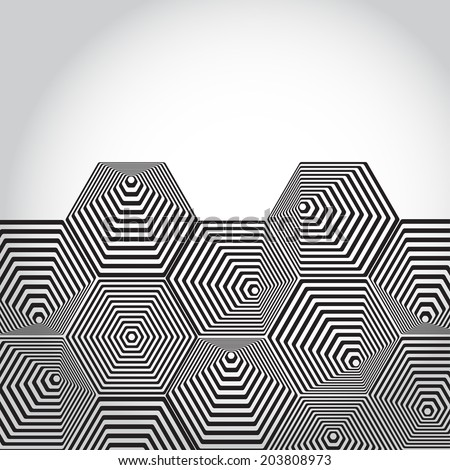 Volumetric 3D pyramid. hexagon. Optical illusion background. Black and white lines. vector - stock vector