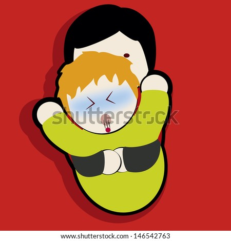 volunteer helping a baby to expel a foreign object in his throat. - stock vector