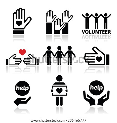 Volunteer, people helping or giving concept icons set - stock vector