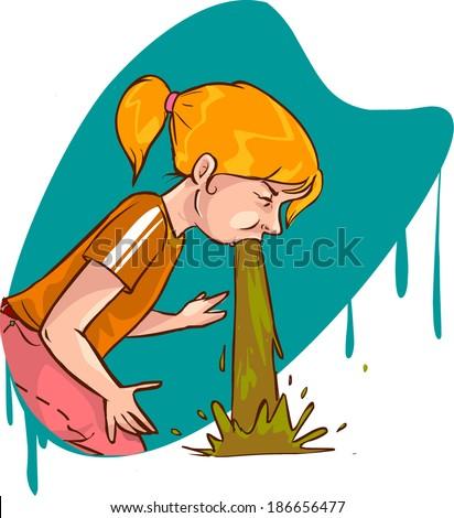 vomit girl - stock vector