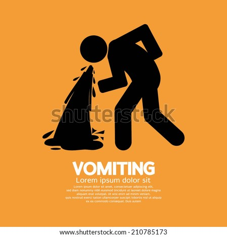 Vomiting Person Graphic Symbol Vector Illustration - stock vector