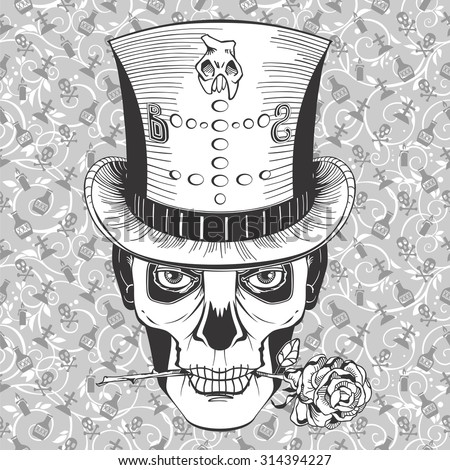 voodoo magician's face in a top hat with rose  - stock vector