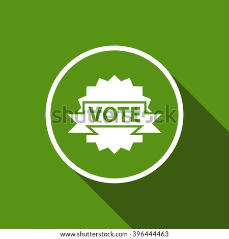 vote badge flat icon with long shadow. material design vector illustration - stock vector