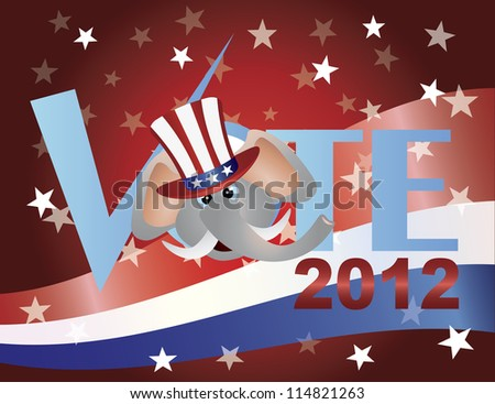 Vote Check Mark Text 2012 Republican with Elephant and US Flag Background Vector - stock vector