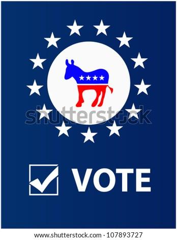 Vote Democrat placard - stock vector