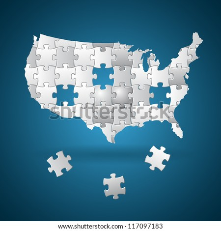 Vote for America - election puzzle background - stock vector