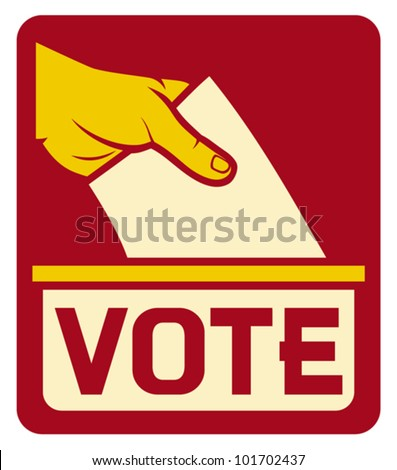 vote label (vote symbol, vote icon, ballot box, hand putting a voting ballot in a slot of box) - stock vector