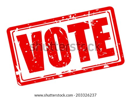 Vote red stamp text on white - stock vector