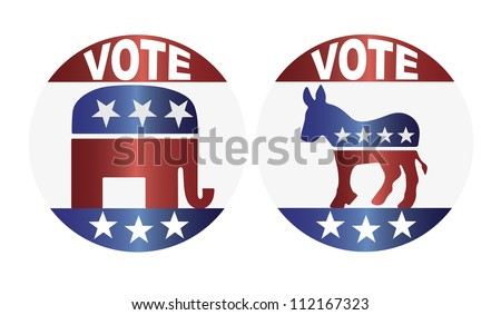 Vote Republican Elephant and Democrat Donkey Buttons Illustration - stock vector