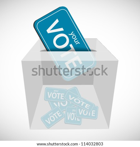 Vote ticket inserted to box with other ticket - stock vector