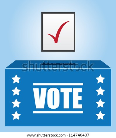 Voter box with checked ballot - stock vector
