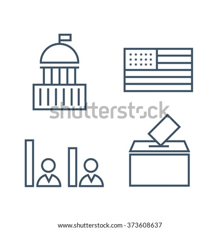 Voting and elections linear icons - stock vector