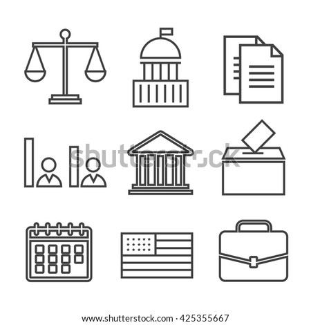 Voting and elections linear icons. Government political eps10 - stock vector