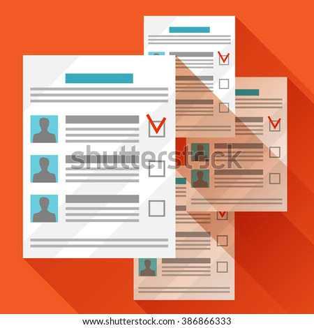 Voting ballots with selected candidate. Political elections illustration for web sites, banners and flayers. - stock vector