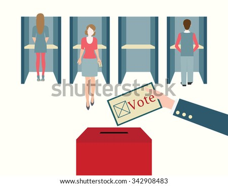 Voting booths with men and women casting their ballots at a polling place, Vote ballot with box, vector illustration. - stock vector