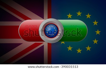 Voting button in or out with European Union and British flag. - stock vector