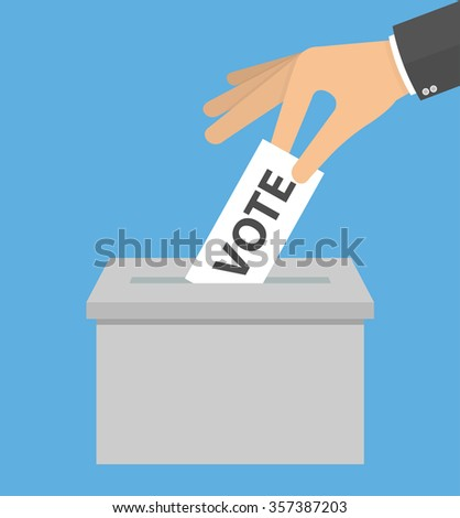 Voting concept. Hand putting or inserting voting paper in the ballot box. Hand holding piece of paper with vote text above a box. Flat style - stock vector