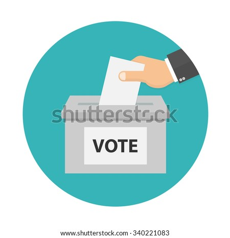 Voting concept icon in flat style. Hand putting voting paper in the ballot box  - stock vector