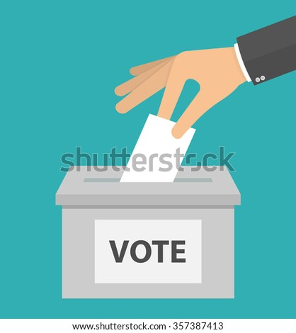 Voting concept in flat style. Hand putting or inserting voting paper in the ballot box - stock vector
