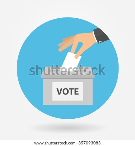 Voting concept in flat style - hand putting voting paper in the ballot box in a circle shaped icon - stock vector