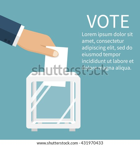 Voting, election concept. Vector illustration flat design style. Man holds in his hand bulletin, puts in ballot box. Casting vote. Politics poll, choice. Voter makes choice - stock vector