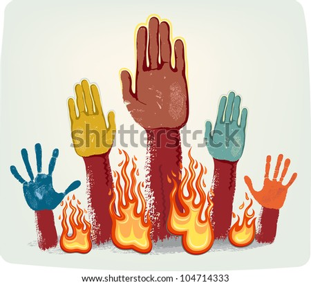 Voting fire hands isolated on grey metallic background - stock vector