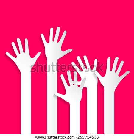 Voting Hands - Paper Cut Palm Hands and Arms Set Vector Illustration on Pink Background - stock vector