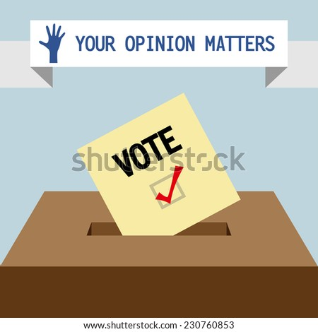 Voting paper with ballot box - stock vector