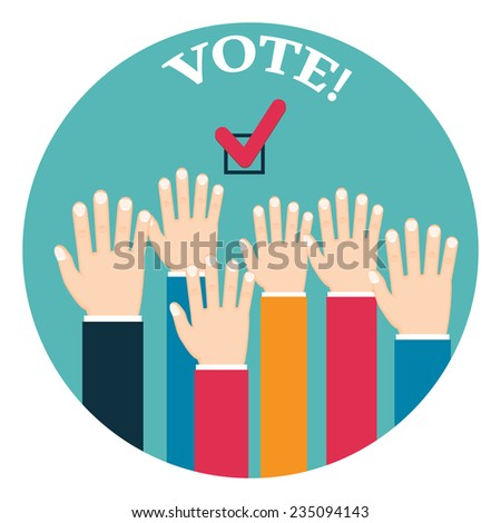 Voting poster with hands - stock vector