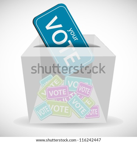 Voting ticket inserting to box - stock vector