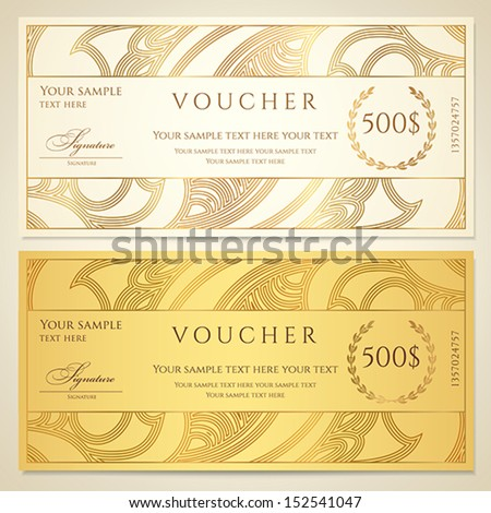 Voucher, Gift certificate, Coupon template. Floral, scroll pattern (border, frame). Background design for invitation, ticket, banknote, money design, currency, check (cheque). Vector in gold, color - stock vector