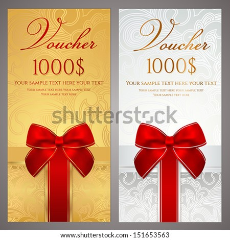 Voucher, Gift certificate, Coupon template with gift bow (ribbons, present). Holiday (celebration) background design (Christmas, Birthday) for invitation, banner, ticket. Vector in silver, gold colors - stock vector
