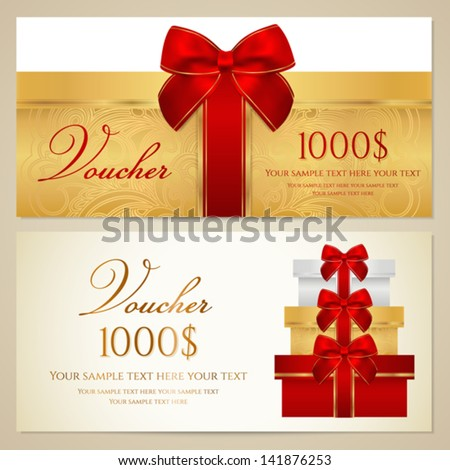 Voucher (Gift certificate, Coupon) template with present (boxes), bow (ribbons). Background design for invitation, banknote, cheque, money design, currency, check. Vector in gold, red (maroon) colors - stock vector