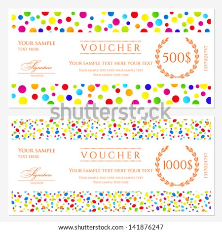 Voucher (Gift certificate) template with colorful (bright, rainbow) abstract background. Background for coupon, banknote, cheque, money design, currency, note, ticket, check. Vector with circles - stock vector