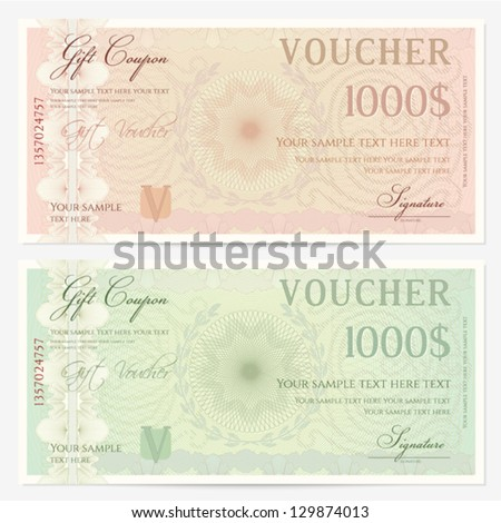 Voucher template with guilloche pattern (watermarks) and border. Background design usable for gift voucher, coupon, banknote, certificate, diploma, check, currency etc. Vector in green, beige colors - stock vector