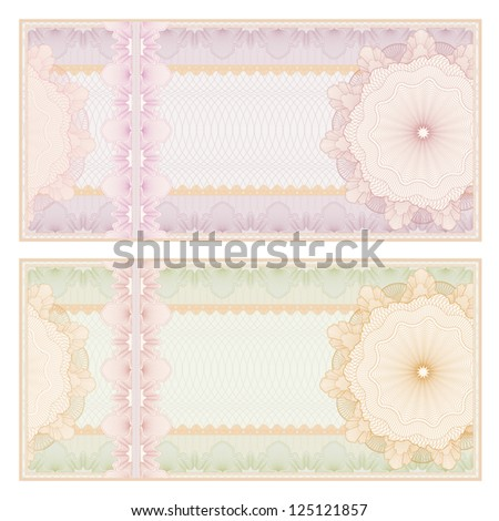 Voucher template with guilloche pattern (watermarks) and border. This background usable for banknote, gift voucher, coupon, diploma, certificate or check. Vector illustration - stock vector
