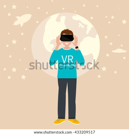 VR gaming. Man playing using vr headset. Vector flat illustration. - stock vector