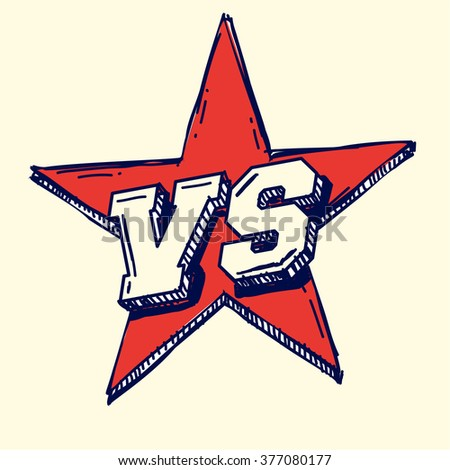 VS on star, doodle vector illustration icon - stock vector