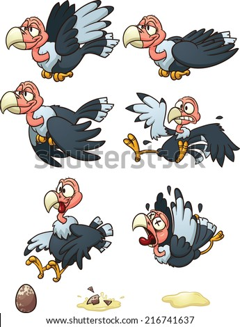 Vultures sprites, flight cycle, laying egg, and dying. Vector clip art illustration with simple gradients. Each element in a separate layer. - stock vector