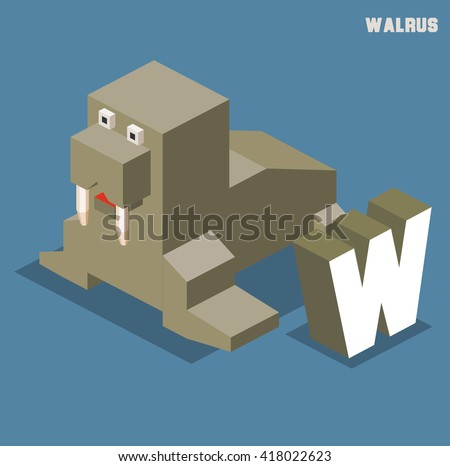 W for walrus, Animal Alphabet collection. vector illustration - stock vector