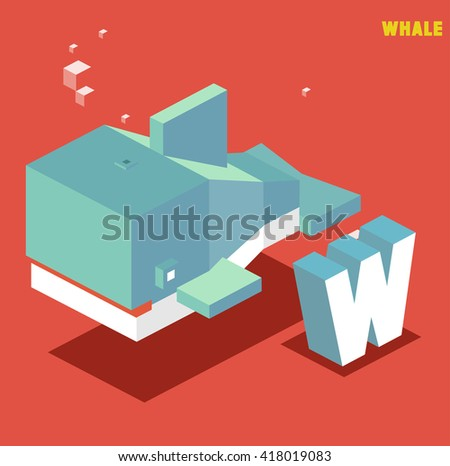W for whale, Animal Alphabet collection. vector illustration - stock vector