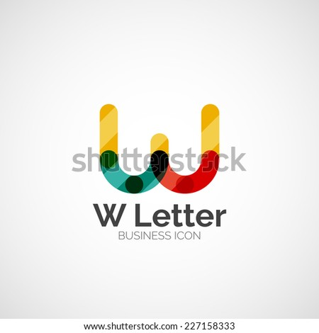 W letter logo, minimal line design, business icon - stock vector